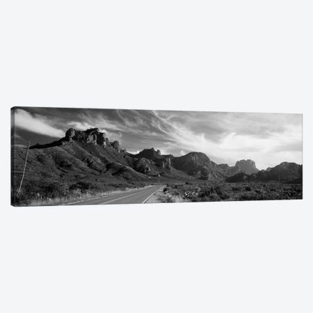 Highway Passing Through A Landscape, Big Bend National Park, Texas, USA 3-Piece Canvas #PIM15157} by Panoramic Images Canvas Art Print
