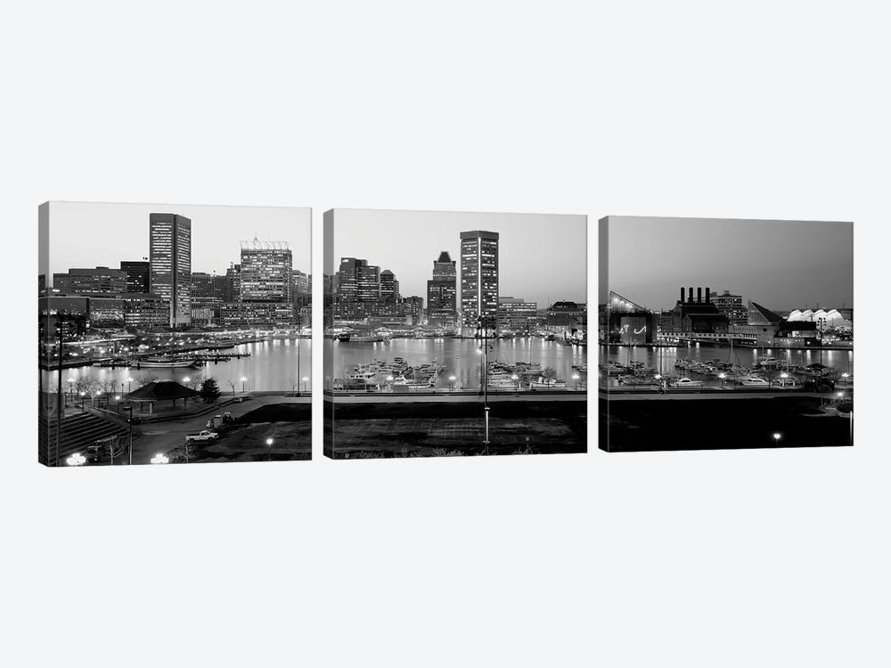 Inner Harbor, Baltimore, Maryland, USA 3-piece Art Print