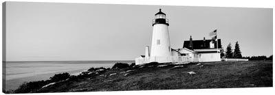 Lighthouse At A Coast, Pemaquid Point Lighthouse, Bristol, Lincoln County, Maine, USA Canvas Art Print