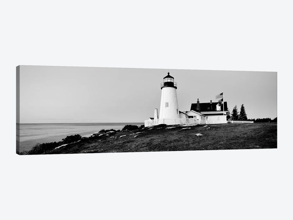 Lighthouse At A Coast, Pemaquid Point Lighthouse, Bristol, Lincoln County, Maine, USA by Panoramic Images 1-piece Canvas Print