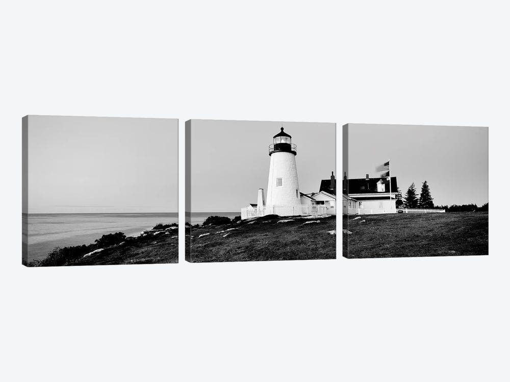 Lighthouse At A Coast, Pemaquid Point Lighthouse, Bristol, Lincoln County, Maine, USA by Panoramic Images 3-piece Canvas Print