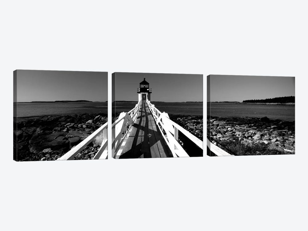 Lighthouse On The Coast, Marshall Point Lighthouse, Built 1832, Rebuilt 1858, Port Clyde, Maine, USA by Panoramic Images 3-piece Canvas Art Print