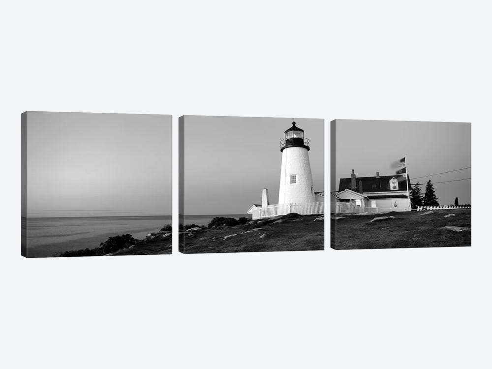 Lighthouse On The Coast, Pemaquid Point Lighthouse Built 1827, Bristol, Lincoln County, Maine, USA by Panoramic Images 3-piece Canvas Art