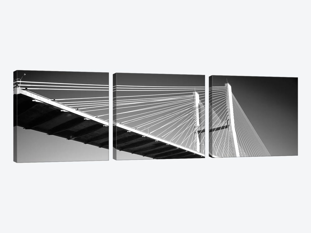 Low-Angle View Of A Bridge, Talmadge Memorial Bridge, Savannah, Georgia, USA by Panoramic Images 3-piece Canvas Artwork