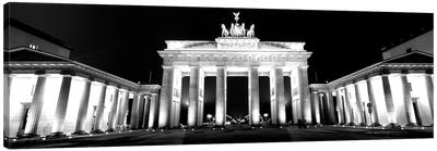 Low-Angle View Of A Gate Lit Up At Night, Brandenburg Gate, Berlin, Germany Canvas Art Print