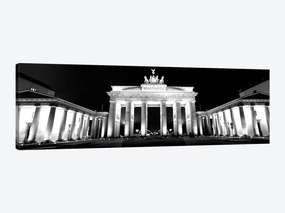 Low-Angle View Of A Gate Lit Up At Night, Brandenburg Gate, Berlin, Germany by Panoramic Images 1-piece Art Print