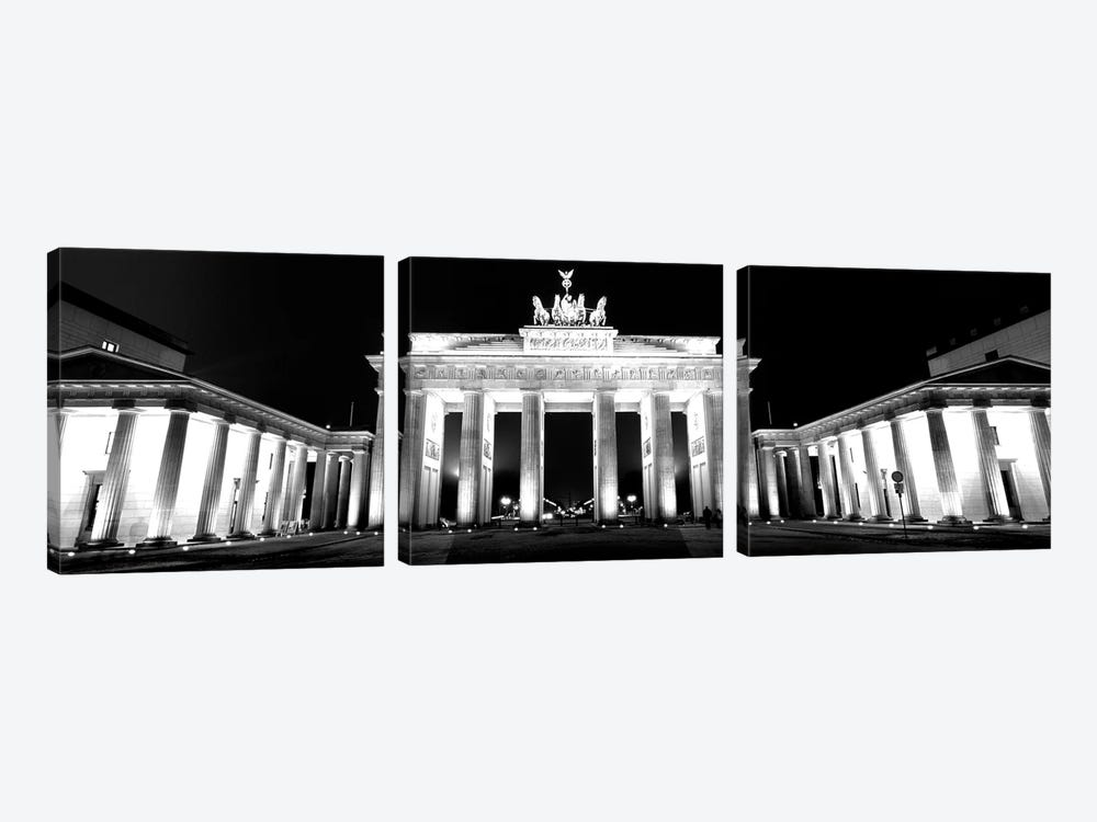 Low-Angle View Of A Gate Lit Up At Night, Brandenburg Gate, Berlin, Germany by Panoramic Images 3-piece Art Print