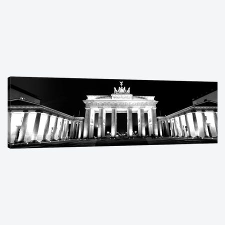 Low-Angle View Of A Gate Lit Up At Night, Brandenburg Gate, Berlin, Germany 3-Piece Canvas #PIM15173} by Panoramic Images Canvas Wall Art