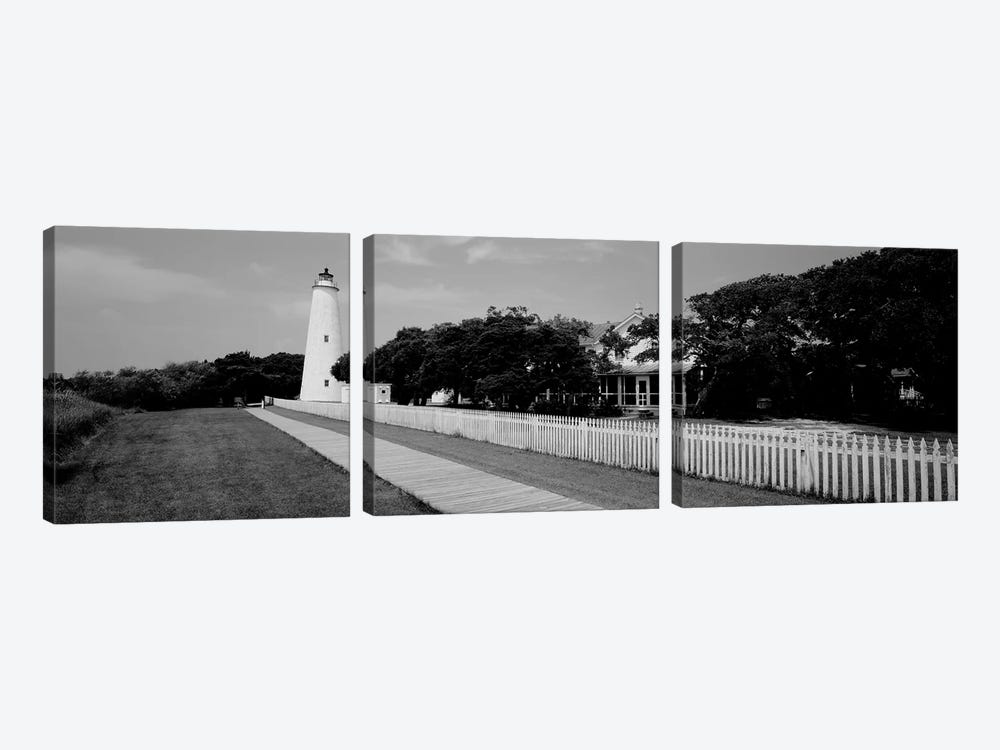 Low-Angle View Of A Lighthouse, Ocracoke Lighthouse, Ocracoke Island, North Carolina, USA by Panoramic Images 3-piece Canvas Artwork