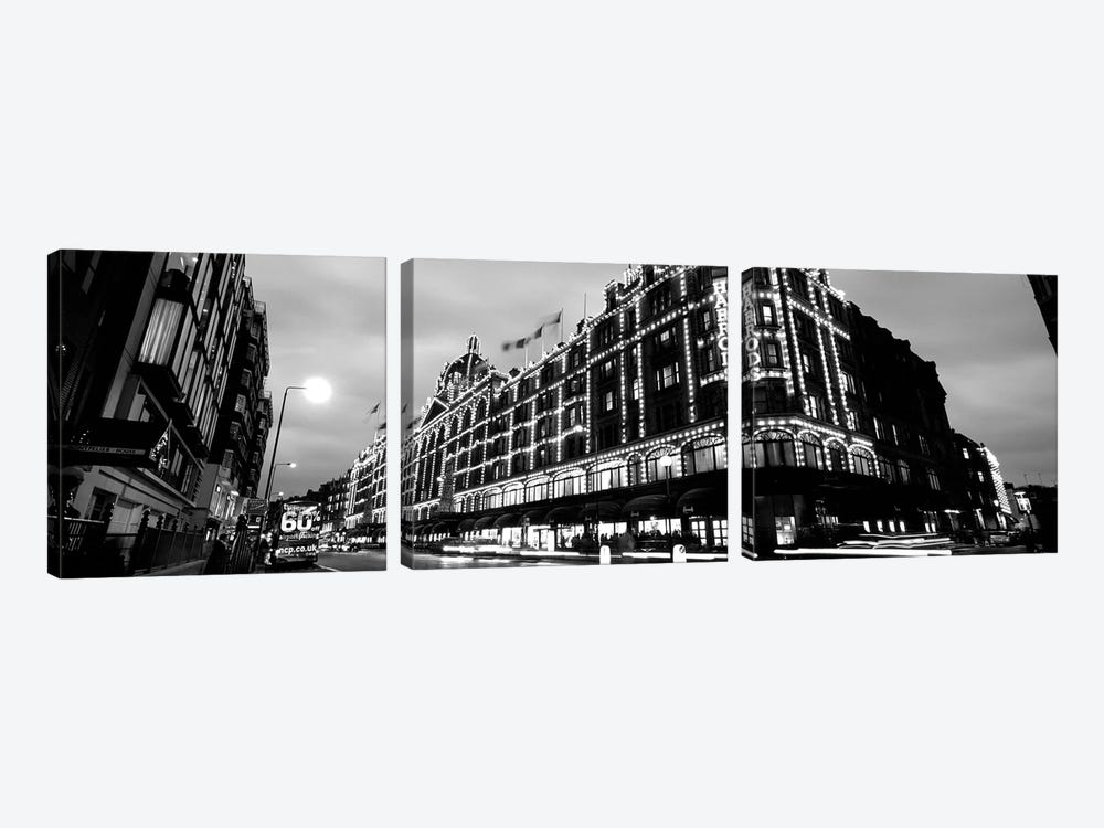 Low-Angle View Of Buildings Lit Up At Night, Harrods, London, England by Panoramic Images 3-piece Canvas Art