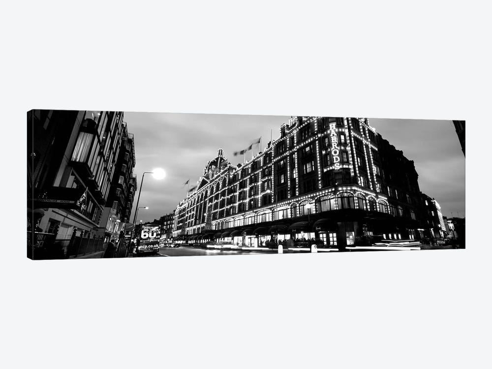 Low-Angle View Of Buildings Lit Up At Night, Harrods, London, England by Panoramic Images 1-piece Canvas Artwork