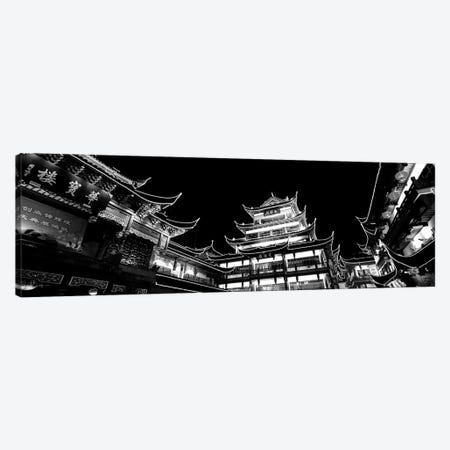 Low-Angle View Of Buildings Lit Up At Night, Old Town, Shanghai, China 3-Piece Canvas #PIM15179} by Panoramic Images Canvas Wall Art