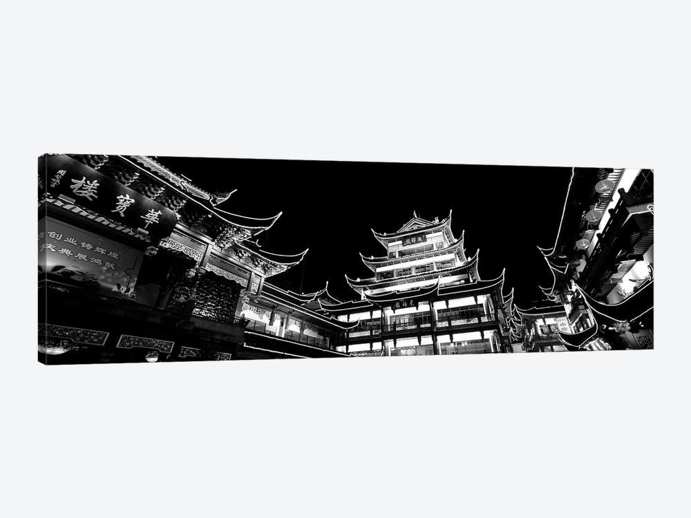 Low-Angle View Of Buildings Lit Up At Night, Old Town, Shanghai, China by Panoramic Images 1-piece Canvas Print