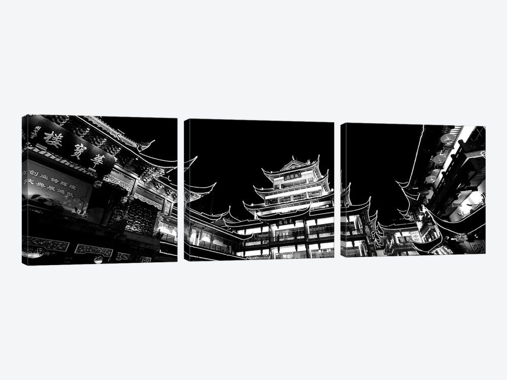 Low-Angle View Of Buildings Lit Up At Night, Old Town, Shanghai, China by Panoramic Images 3-piece Canvas Print