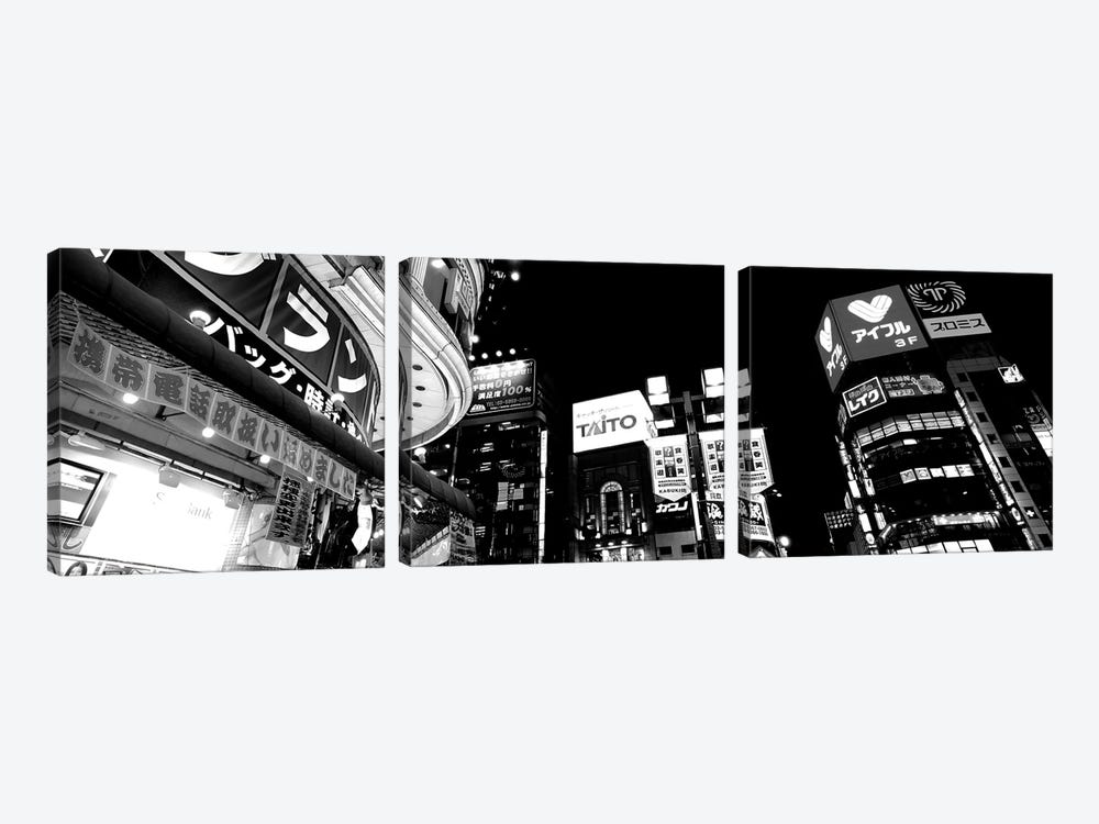 Low-Angle View Of Buildings Lit Up At Night, Shinjuku Ward, Tokyo Prefecture, Kanto Region, Japan by Panoramic Images 3-piece Art Print