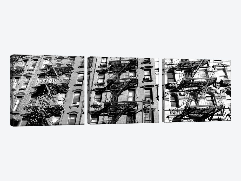 Low-Angle View Of Fire Escapes On Buildings, Little Italy, Manhattan, New York City, New York State, USA by Panoramic Images 3-piece Canvas Art Print