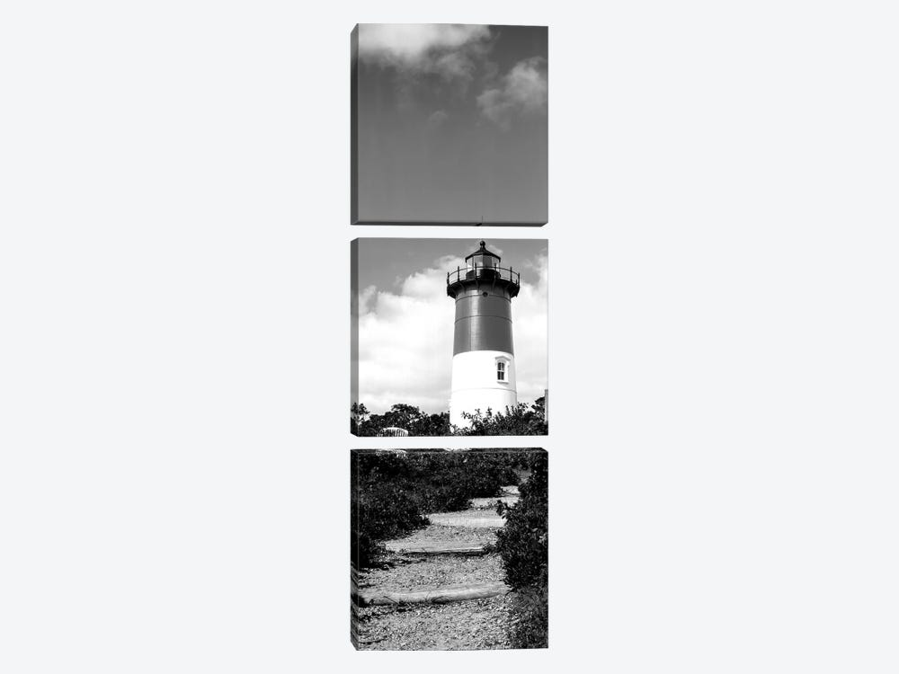 Low-Angle View Of Nauset Lighthouse, Nauset Beach, Eastham, Cape Cod, Barnstable County, Massachusetts, USA by Panoramic Images 3-piece Canvas Print