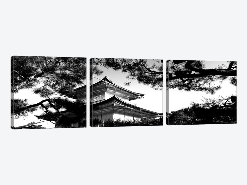 Low-Angle View Of Trees In Front Of Kinkaku-Ji Temple, Kyoto City, Kyoto Prefecture, Kinki Region, Honshu, Japan by Panoramic Images 3-piece Canvas Art