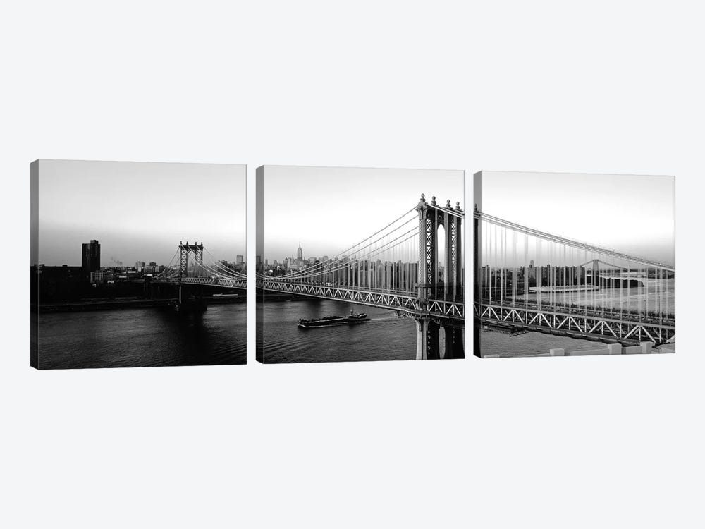 Manhattan Bridge, NYc, New York City, New York State, USA by Panoramic Images 3-piece Canvas Art Print