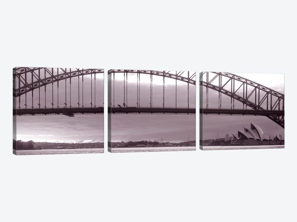 Harbor Bridge, Pacific Ocean, Sydney, Australia by Panoramic Images 3-piece Canvas Print