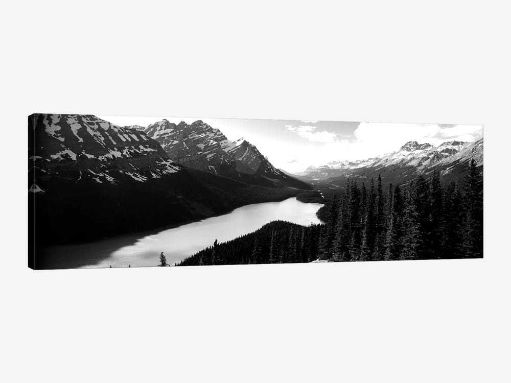 Mountain Range At The Lakeside, Banff National Park, Alberta, Canada by Panoramic Images 1-piece Canvas Print