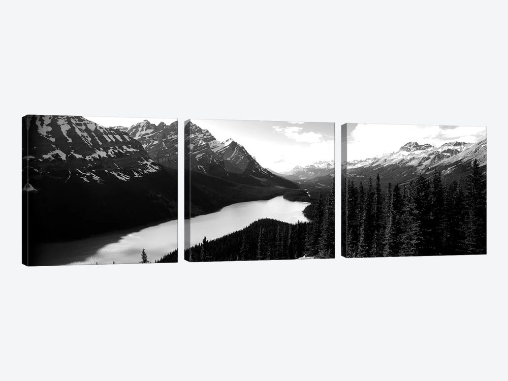 Mountain Range At The Lakeside, Banff National Park, Alberta, Canada by Panoramic Images 3-piece Art Print