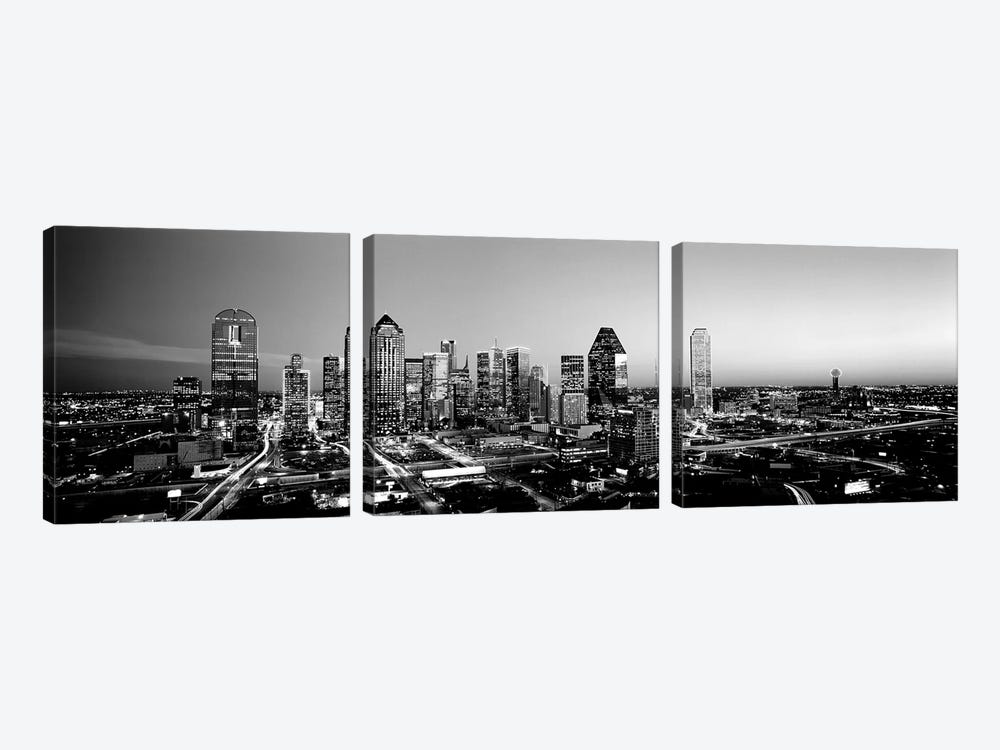 Night, Dallas, Texas, USA by Panoramic Images 3-piece Canvas Print