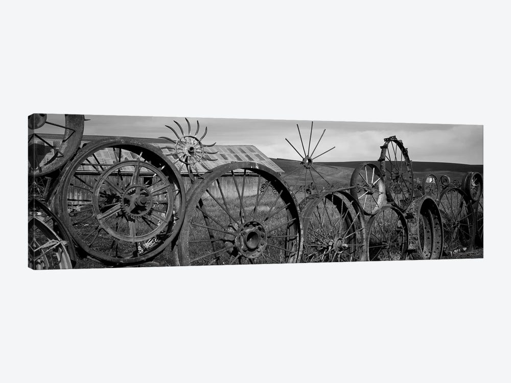 Old Barn With A Fence Made Of Wheels, Palouse, Whitman County, Washington State, USA by Panoramic Images 1-piece Canvas Artwork