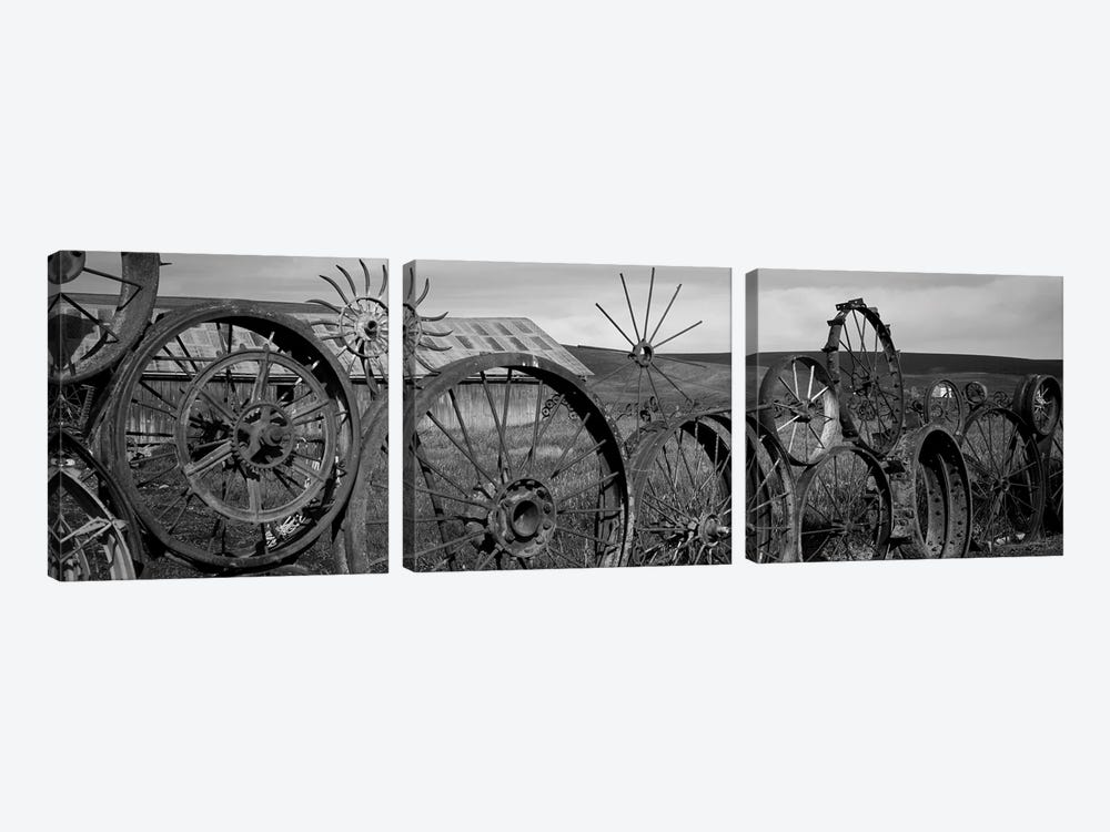 Old Barn With A Fence Made Of Wheels, Palouse, Whitman County, Washington State, USA 3-piece Canvas Artwork