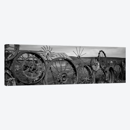 Old Barn With A Fence Made Of Wheels, Palouse, Whitman County, Washington State, USA 3-Piece Canvas #PIM15198} by Panoramic Images Canvas Art