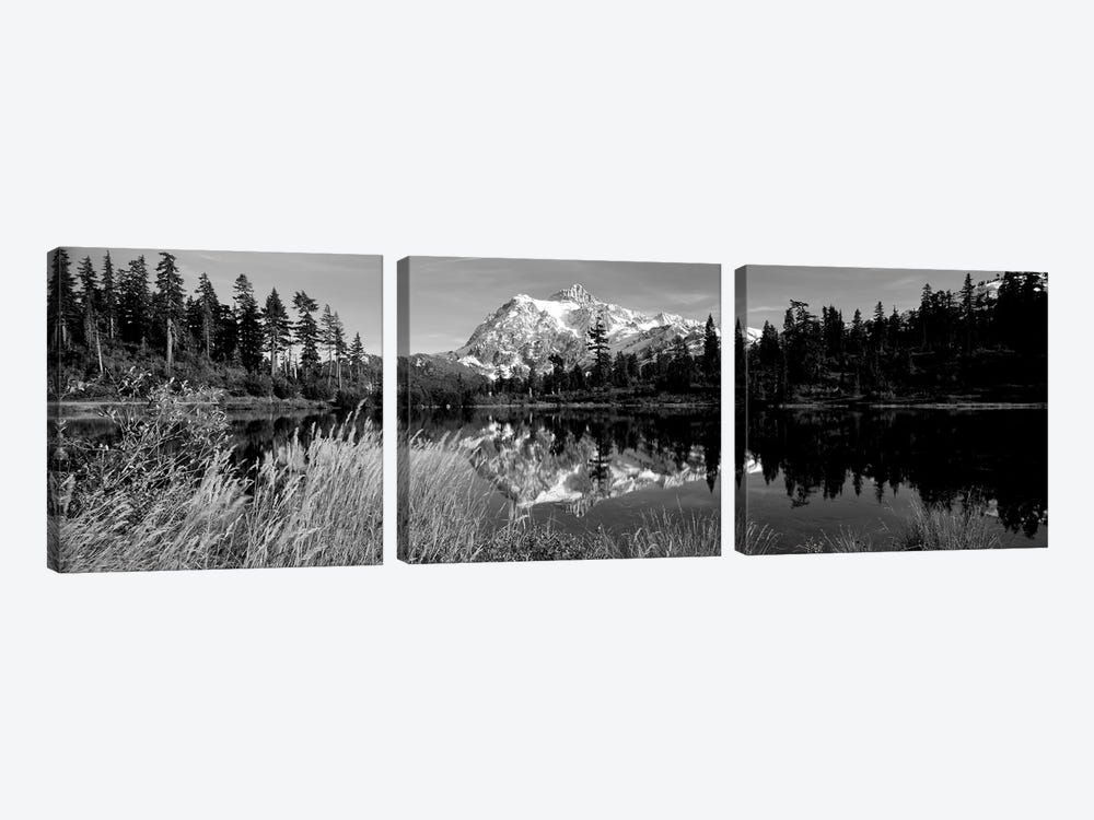 Reflection Of Mountains In A Lake, Mt. Shuksan, Picture Lake, North Cascades National Park, Washington State, USA by Panoramic Images 3-piece Art Print