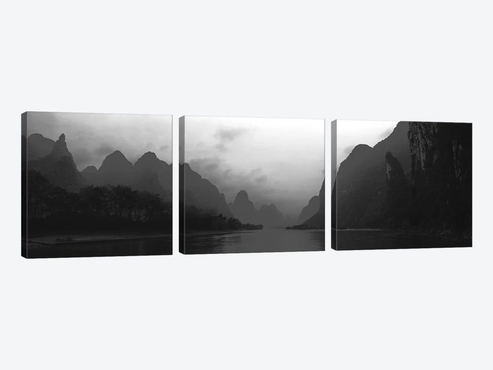 River Passing Through A Hill Range, Guilin Hills, Li River, Yangshuo, China by Panoramic Images 3-piece Art Print