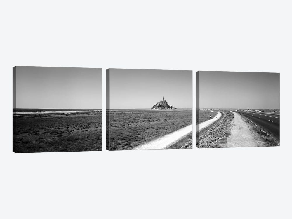 Road Passing Through A Landscape, Mont Saint-Michel, Normandy, France by Panoramic Images 3-piece Canvas Wall Art