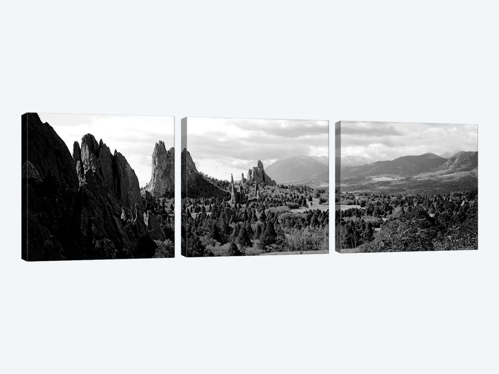 Rock Formations On A Landscape, Garden Of The Gods, Colorado Springs, Colorado, USA by Panoramic Images 3-piece Art Print