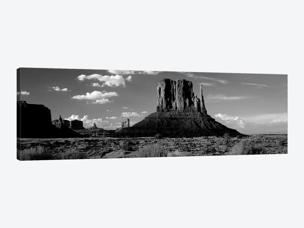 Rock Formations On A Landscape, The Mittens, Monument Valley Tribal Park, Monument Valley, Utah, USA by Panoramic Images 1-piece Canvas Artwork