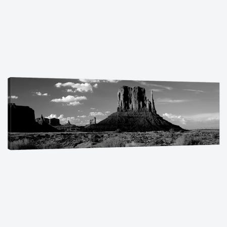 Rock Formations On A Landscape, The Mittens, Monument Valley Tribal Park, Monument Valley, Utah, USA Canvas Print #PIM15216} by Panoramic Images Canvas Artwork