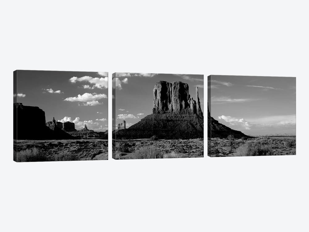 Rock Formations On A Landscape, The Mittens, Monument Valley Tribal Park, Monument Valley, Utah, USA by Panoramic Images 3-piece Canvas Art