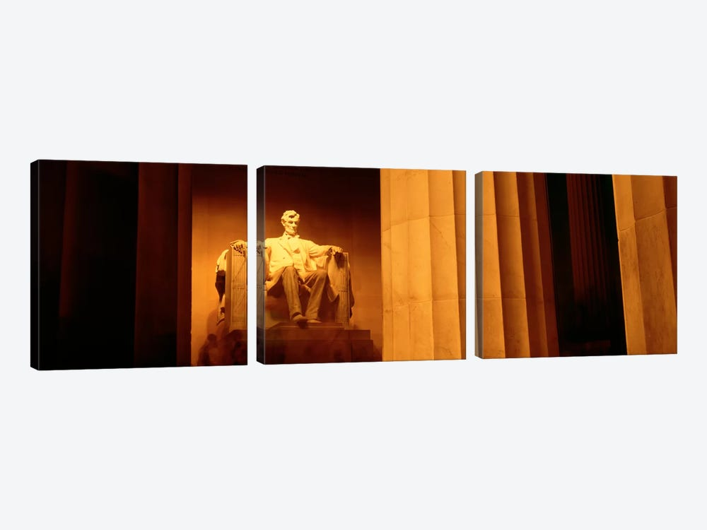 Night, Lincoln Memorial, Washington DC, District Of Columbia, USA by Panoramic Images 3-piece Canvas Art Print