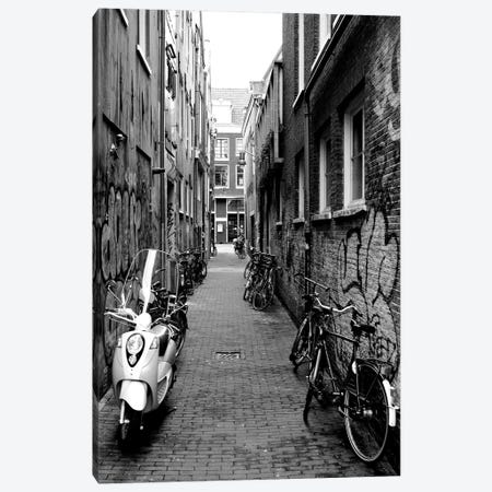 Scooters And Bicycles Parked In A Street, Amsterdam, Netherlands Canvas Print #PIM15224} by Panoramic Images Canvas Art Print