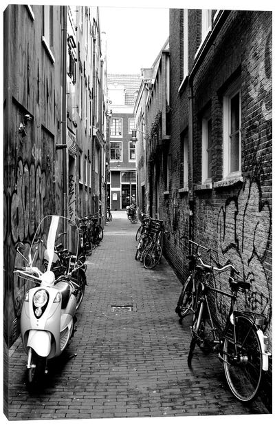 Scooters And Bicycles Parked In A Street, Amsterdam, Netherlands Canvas Art Print