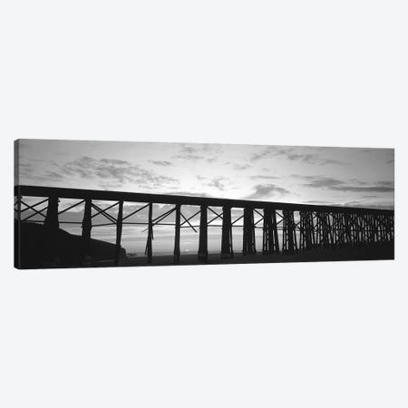 Silhouette Of A Railway Bridge, Fort Bragg, California, USA 3-Piece Canvas #PIM15227} by Panoramic Images Canvas Art Print