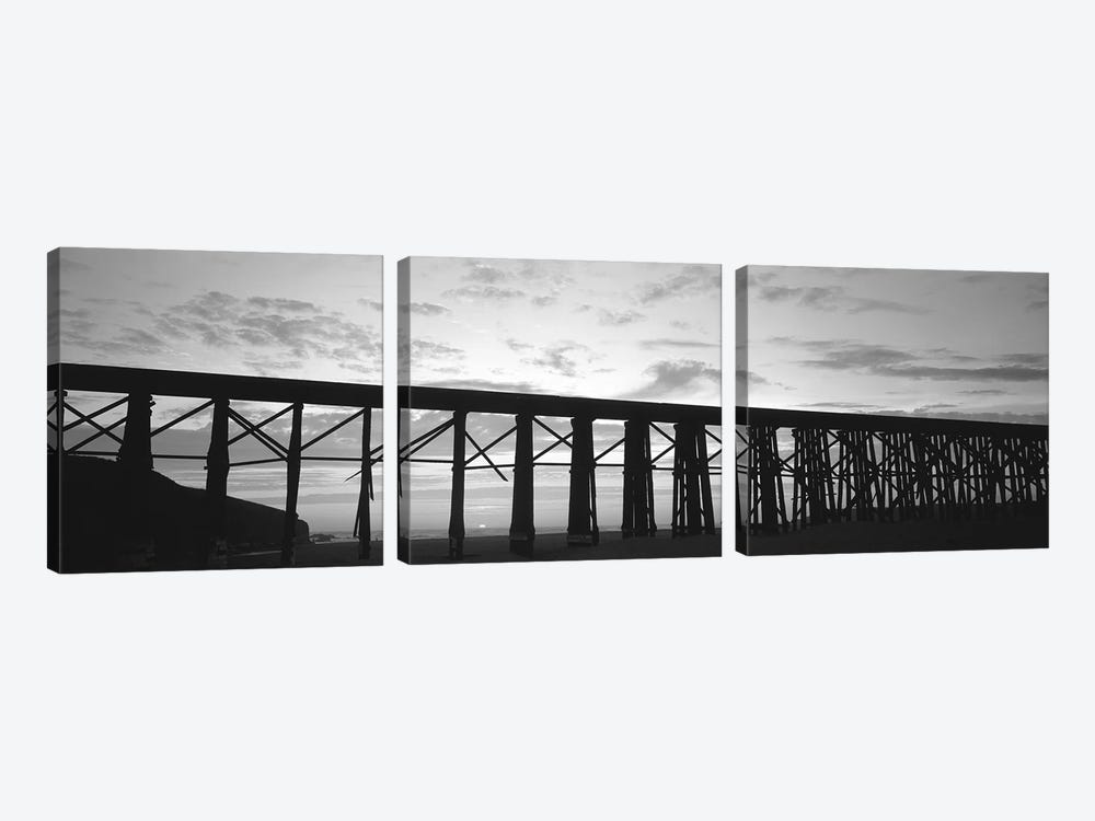 Silhouette Of A Railway Bridge, Fort Bragg, California, USA 3-piece Canvas Wall Art