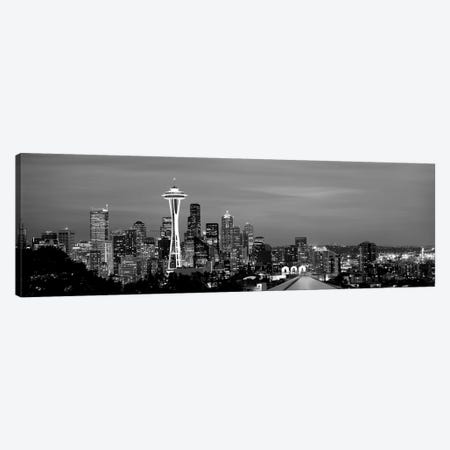 Skyscrapers In A City Lit Up At Night, Space Needle, Seattle, King County, Washington State, USA Canvas Print #PIM15229} by Panoramic Images Canvas Art