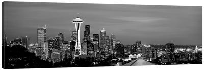 Skyscrapers In A City Lit Up At Night, Space Needle, Seattle, King County, Washington State, USA Canvas Art Print