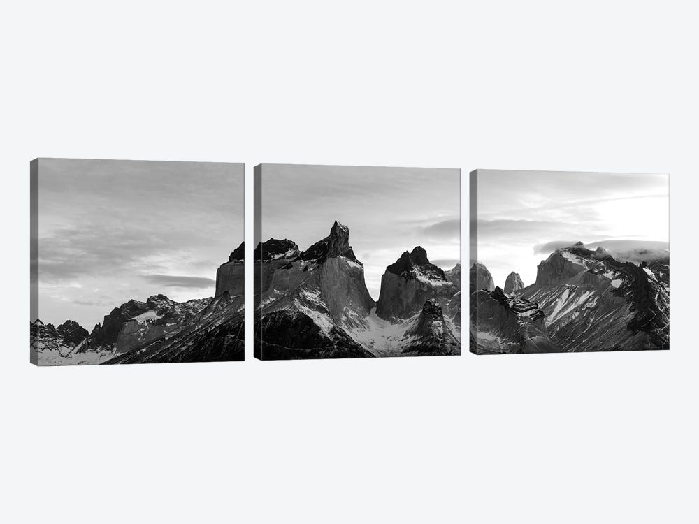 Snowcapped Mountain Range, Paine Massif, Torres Del Paine National Park, Magallanes Region, Patagonia, Chile by Panoramic Images 3-piece Canvas Art