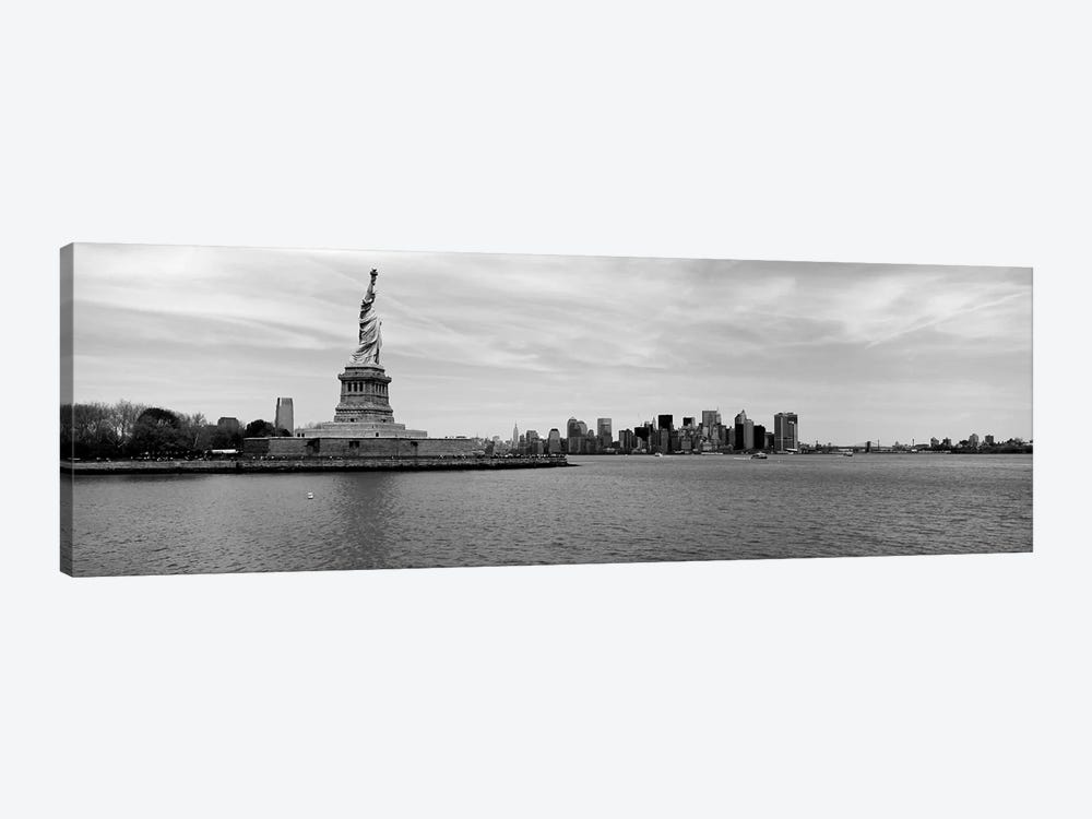 Statue Of Liberty With Manhattan Skyline In The Background, Ellis Island, New York City, New York State, USA by Panoramic Images 1-piece Canvas Print