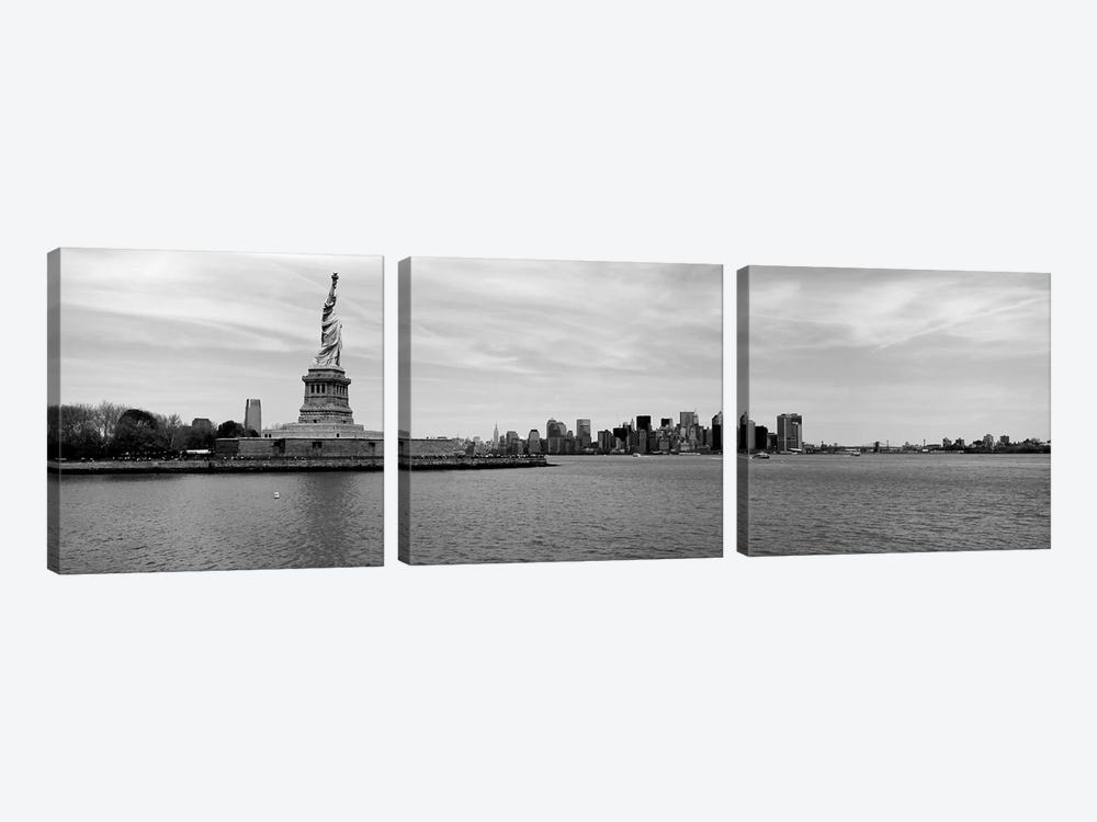 Statue Of Liberty With Manhattan Skyline In The Background, Ellis Island, New York City, New York State, USA by Panoramic Images 3-piece Canvas Art Print