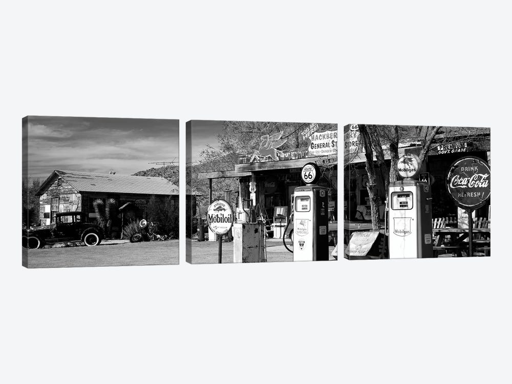 Store With A Gas Station On The Roadside, Route 66, Hackenberry, Arizona, USA by Panoramic Images 3-piece Canvas Art Print