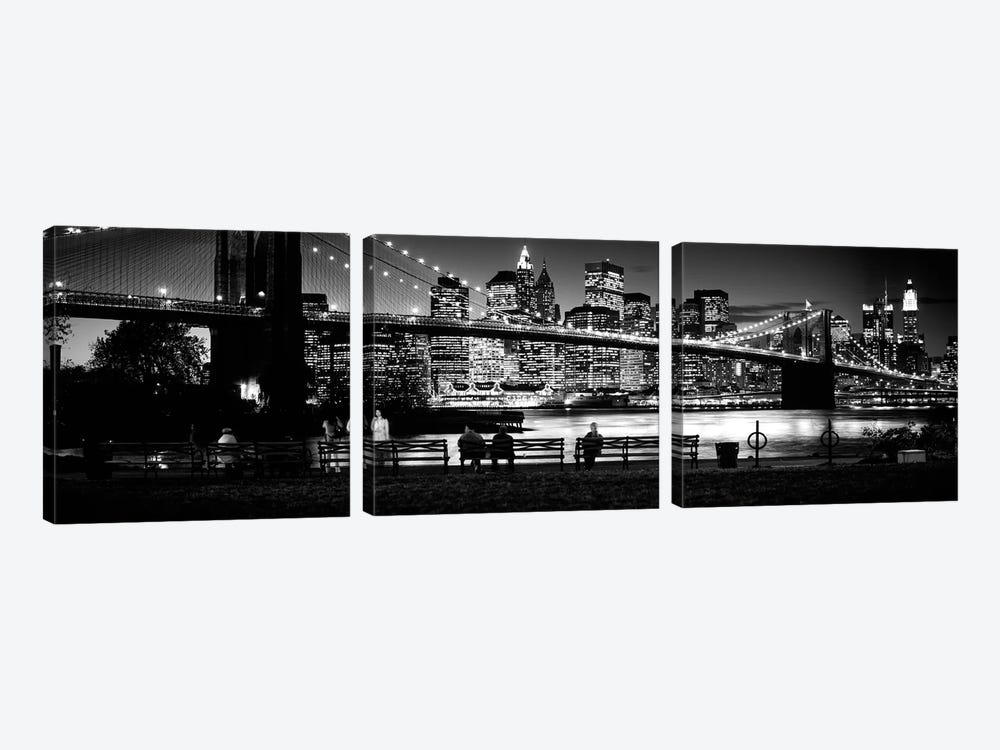 Suspension Bridge Lit Up At Dusk, Brooklyn Bridge, East River, Manhattan, New York City, New York State, USA by Panoramic Images 3-piece Canvas Art Print