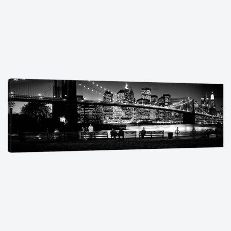 Suspension Bridge Lit Up At Dusk, Brooklyn Bridge, East River, Manhattan, New York City, New York State, USA 3-Piece Canvas #PIM15244} by Panoramic Images Canvas Print